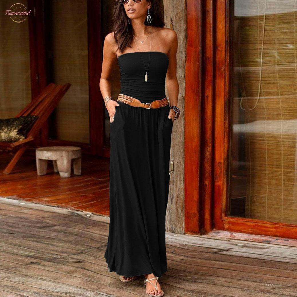 إمرأة بوهو اللباس العصابة عطلة معطلة الكتف حمالة فستان طويل المؤنث سيدات 2020 عارضة الصيف الصلبة فستان ماكسي Vestidos