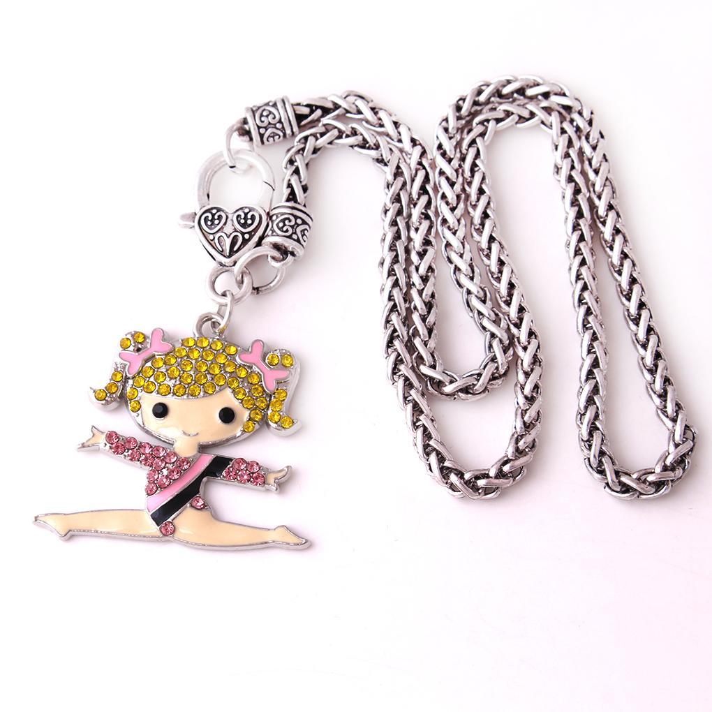Fashion Gymnastics Girl Cartoon Figure Charm Pendant Crystal Dance Girl Sports Wheat Chain Necklace for Women