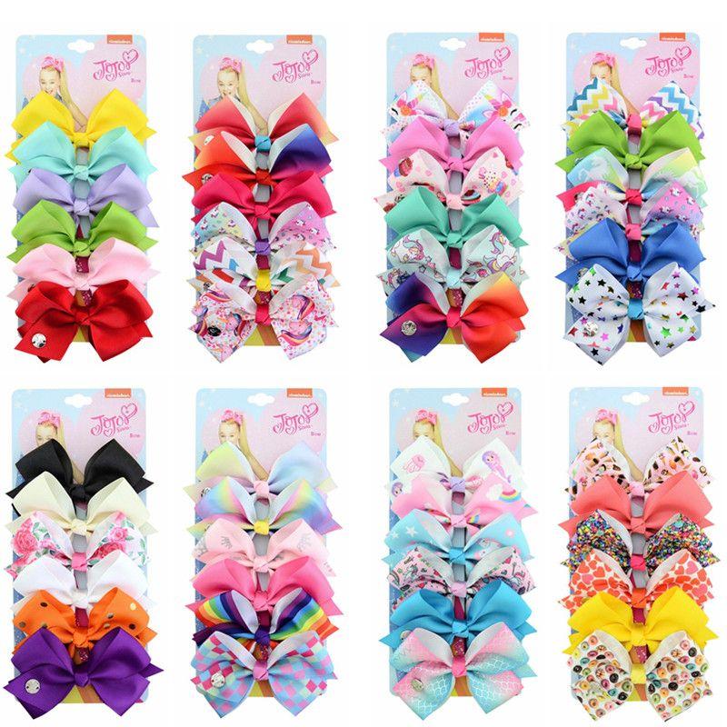 Free DHL Appro 5.6 Inches Jojo Siwa Bows Handmade Baby Girls Barrettes Unicorn Bohemian Turban Butterfly Barrettes Headbands Bandanas