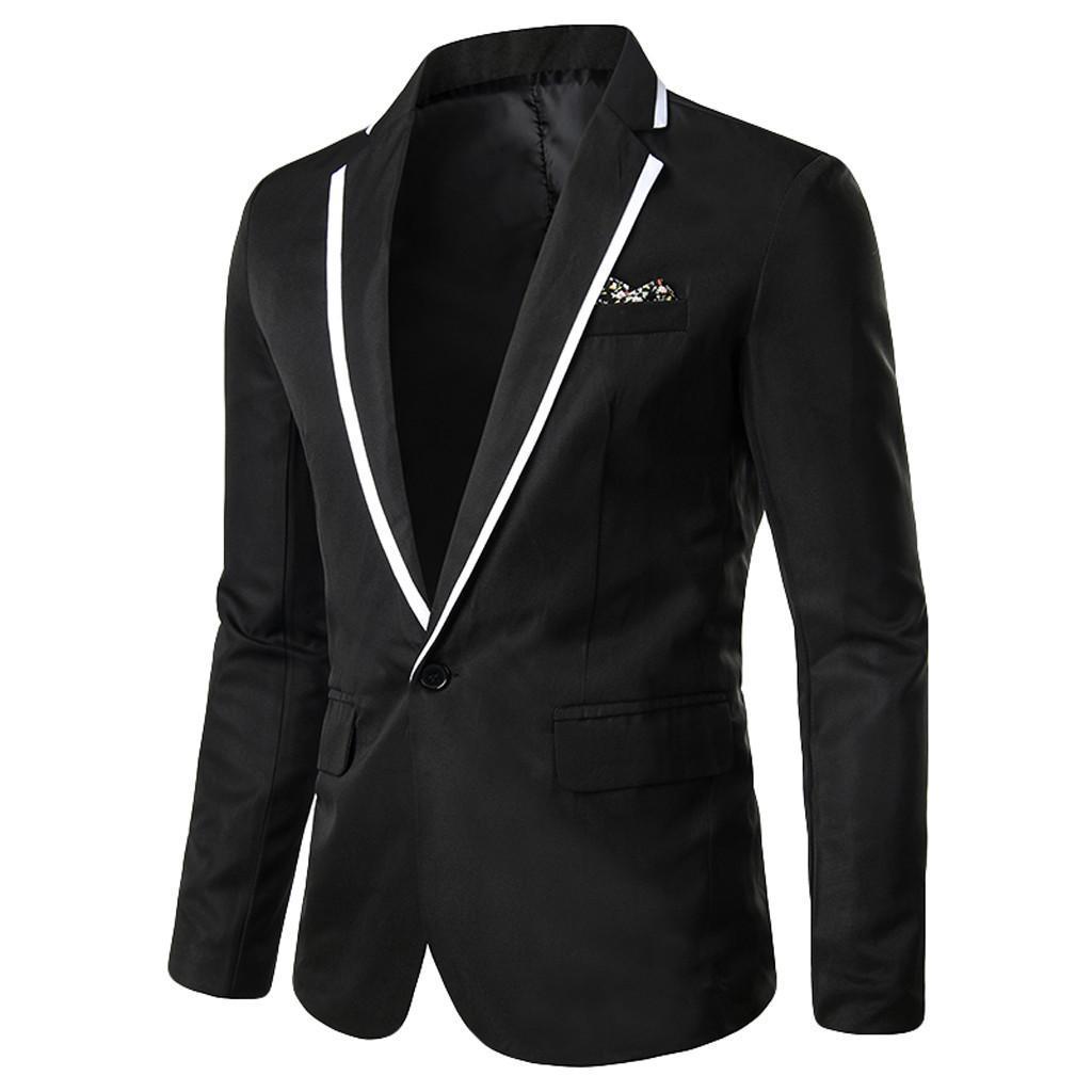 Hommes Casual élégantes solides de soirée de mariage d'affaires Blazer Outwear Manteau Tops Costume