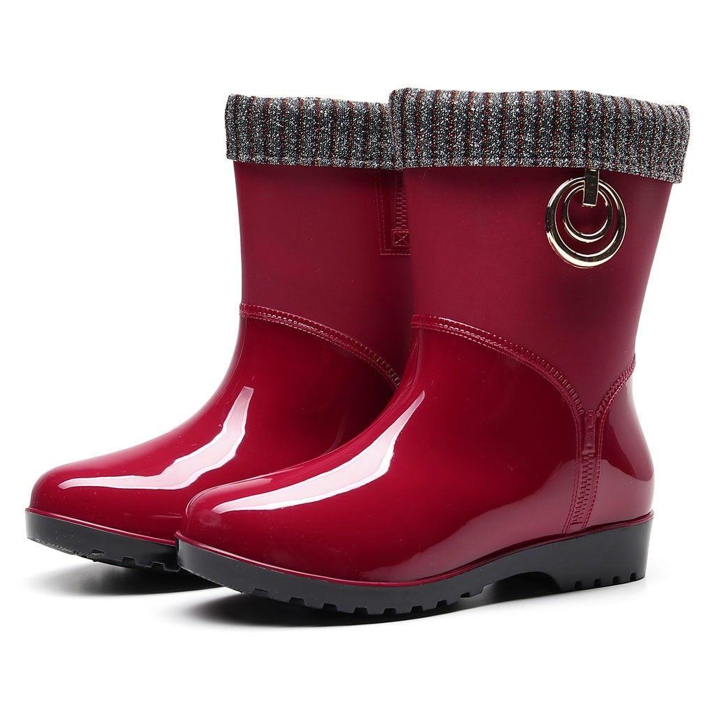 Punk Style Mid-Calf Rain Boots Women Rubber Winter Warm Snow Boots Women's Non-Slip Rain Boots Outdoor Water Shoes Zapatos De