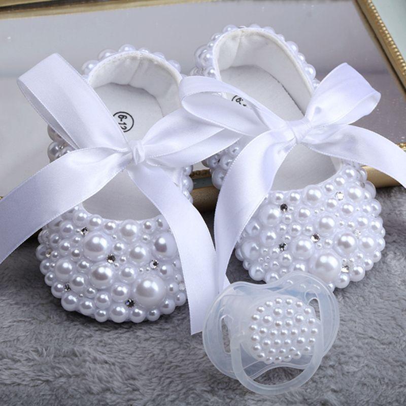 Dollbling New Shoes Pure White pour enfants perle personnalisation main Baptême cadeau d'anniversaire princesse petite fille Chaussures Y200103