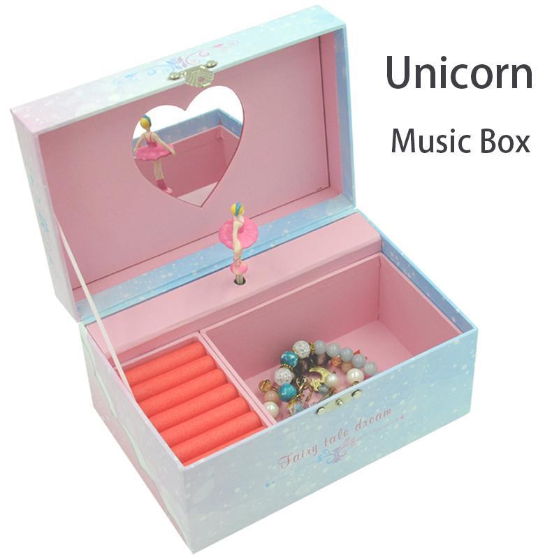 yaratıcı öneri doğum baskı Unicorn müzik kutusu kağıt mücevher kutusu kare saf el yapımı hediye paketleme karton müzik