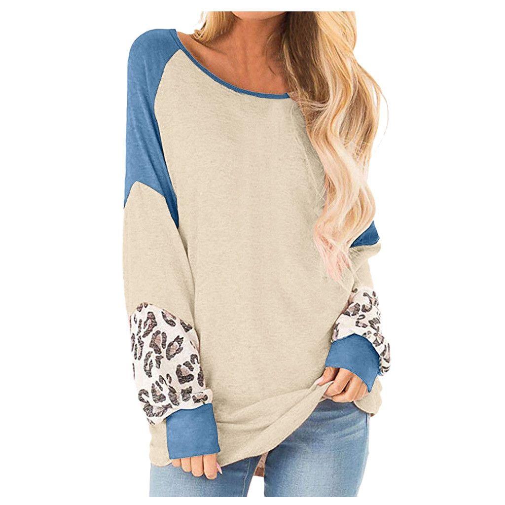 FREE OSTRICH Women Autumn Female Long Sleeve Print Leopard Sweatshirt Tracksuit Contrast color Round collar Casual Sportswear
