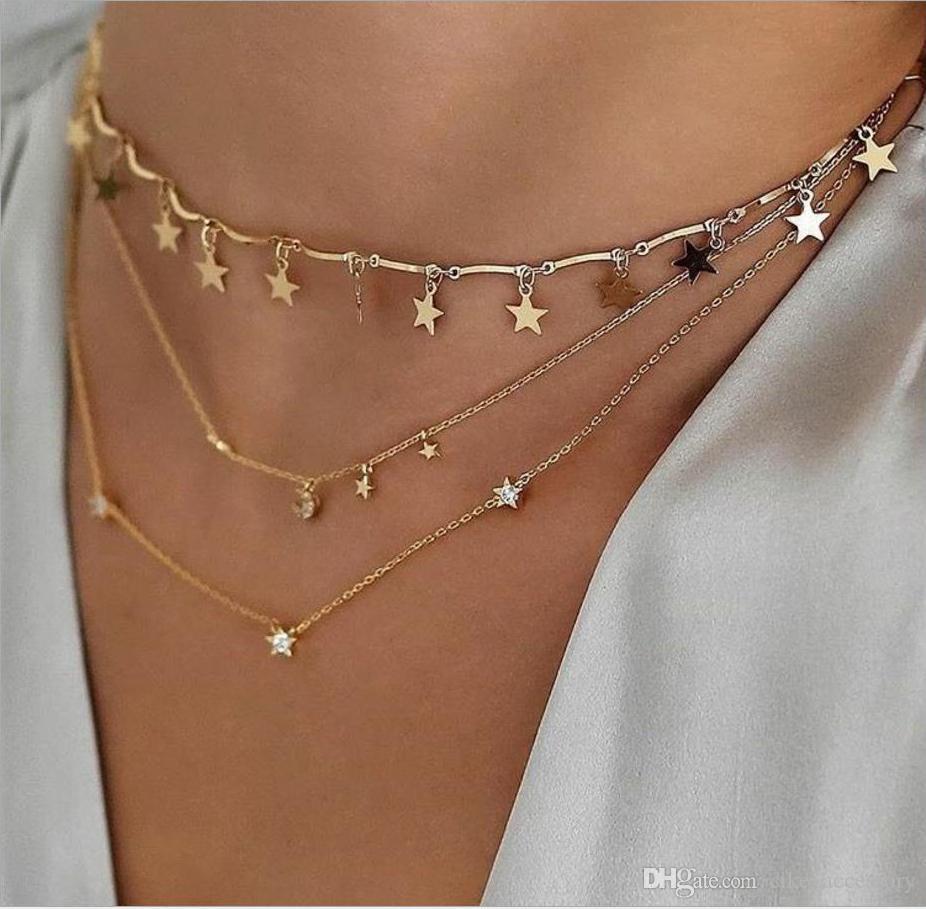 Мода ожерелье Три слоя звезды луны кулон белый черный цвет имитация алмазов цепи металла позолоченные женщины подарок