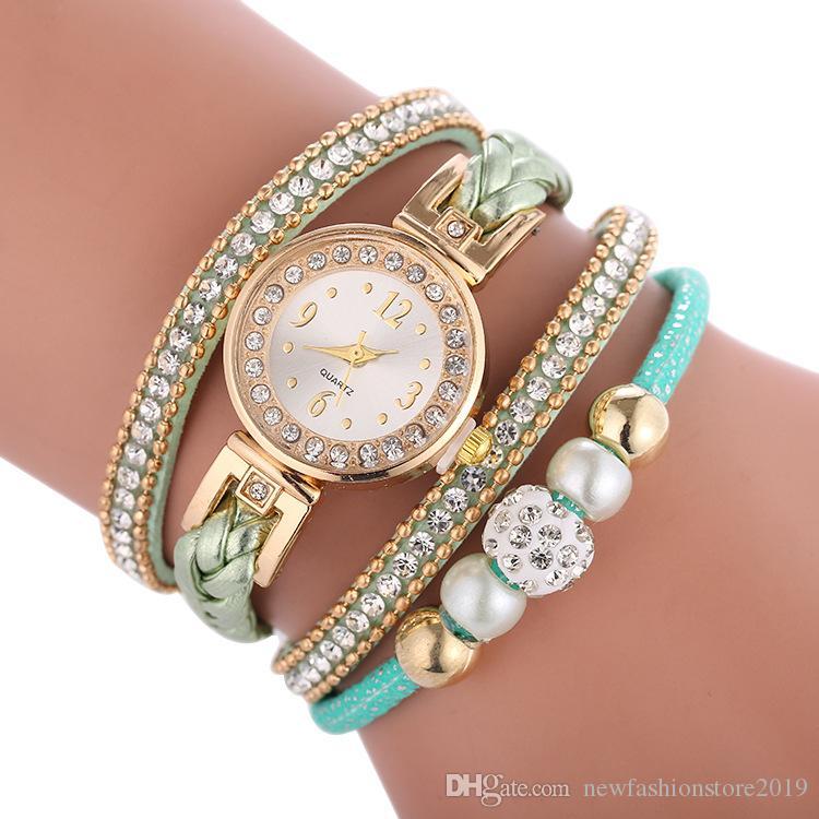 Hot Style di vendita nuovo orologio al quarzo da polso intrecciata tempestato di diamanti delle donne all'ingrosso con la vigilanza del braccialetto della signora