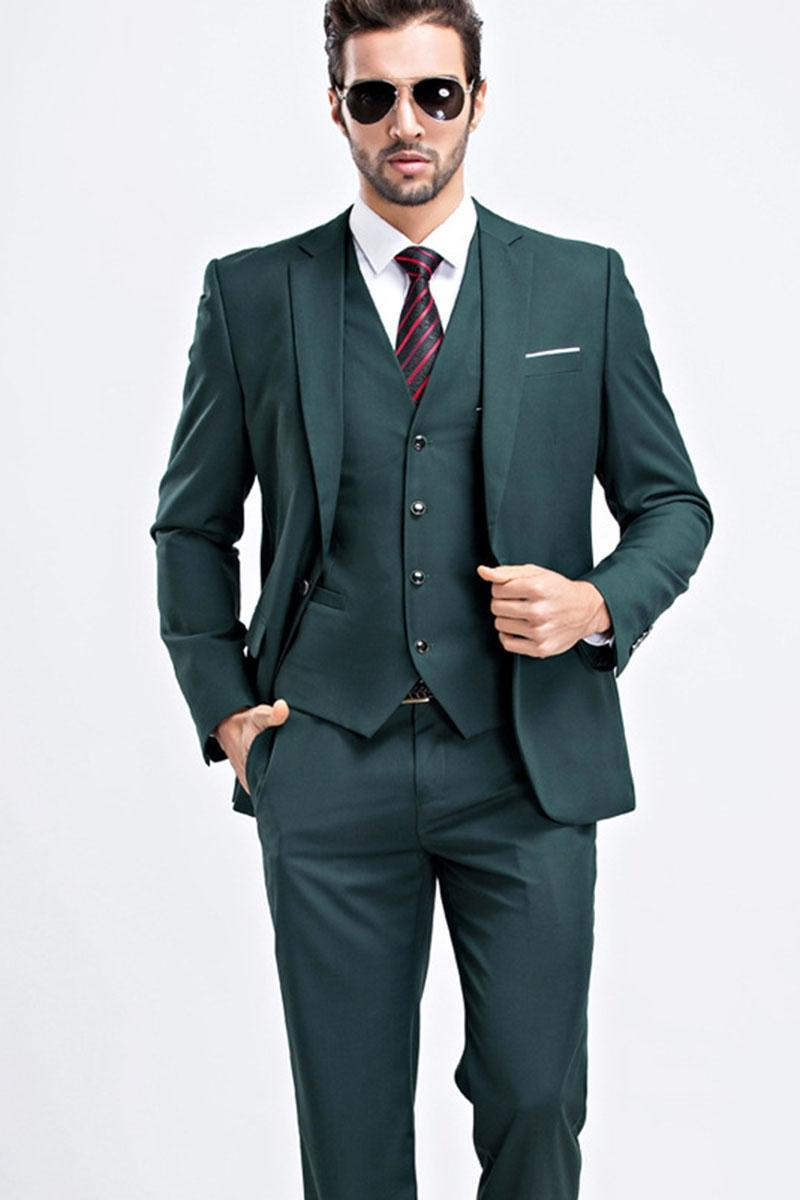 Classy Green Wedding Tuxedos Slim Fit Mens Business Suit Groom (Jacket + Pants + Bow tie) Men's Suits Spring 2020 Hot Sell Groom Suits