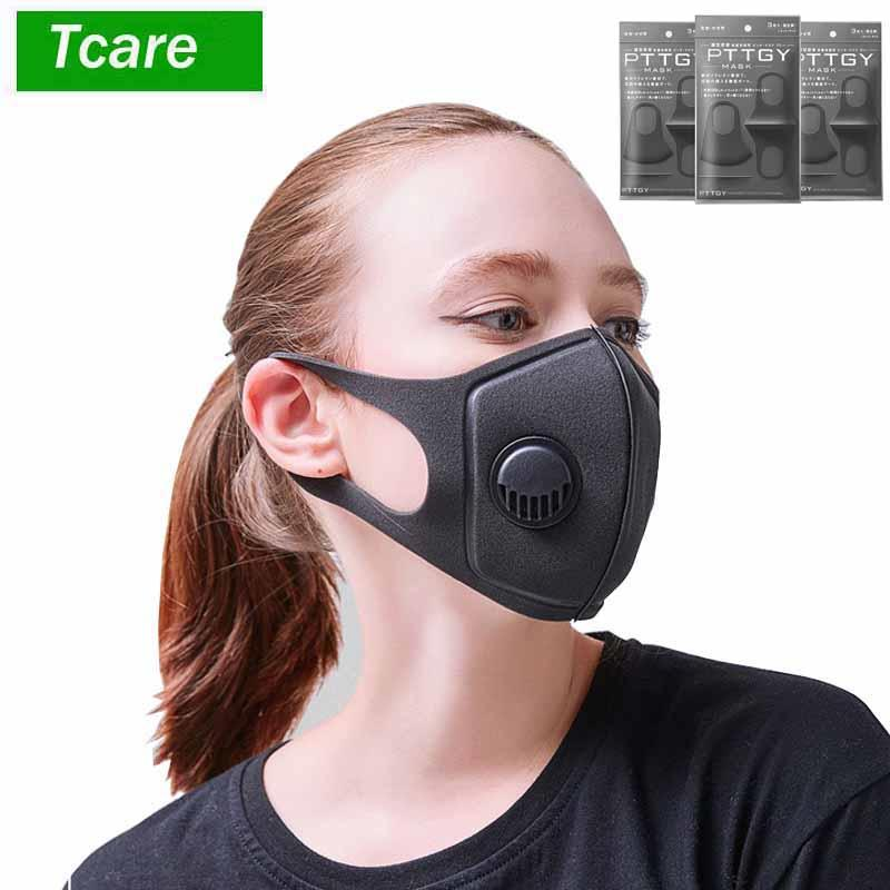 Máscara de Filtro Preto PM2.5 respiratórios Anti válvula anti-pó Com Face Boca Máscaras reutilizáveis cobrir a boca anti nevoeiro Haze Respirador Homens Mulheres