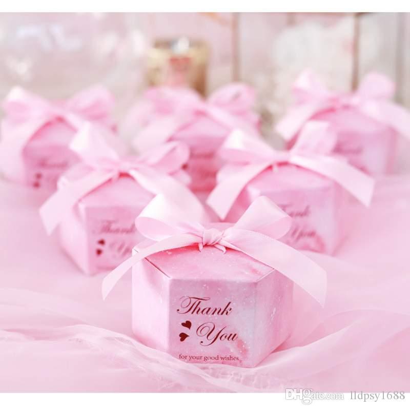 100pcs / Lot Yeni Avrupa Hediye Kutusu Bebek Doğum Günü Partisi Şeker Kutusu Tatlı Kağıt Çikolata Kutuları Düğün Dekorasyon Malzemeleri Yana