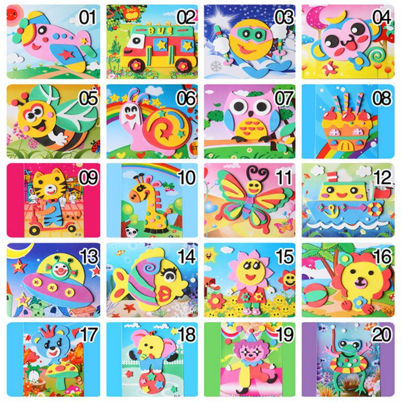 Happyxuan 20 Designs 3D Eva Foam Craft Sticker DIY Puzzle Baby Montessori Learning Education Toys for Kids 3-6 years MX200414