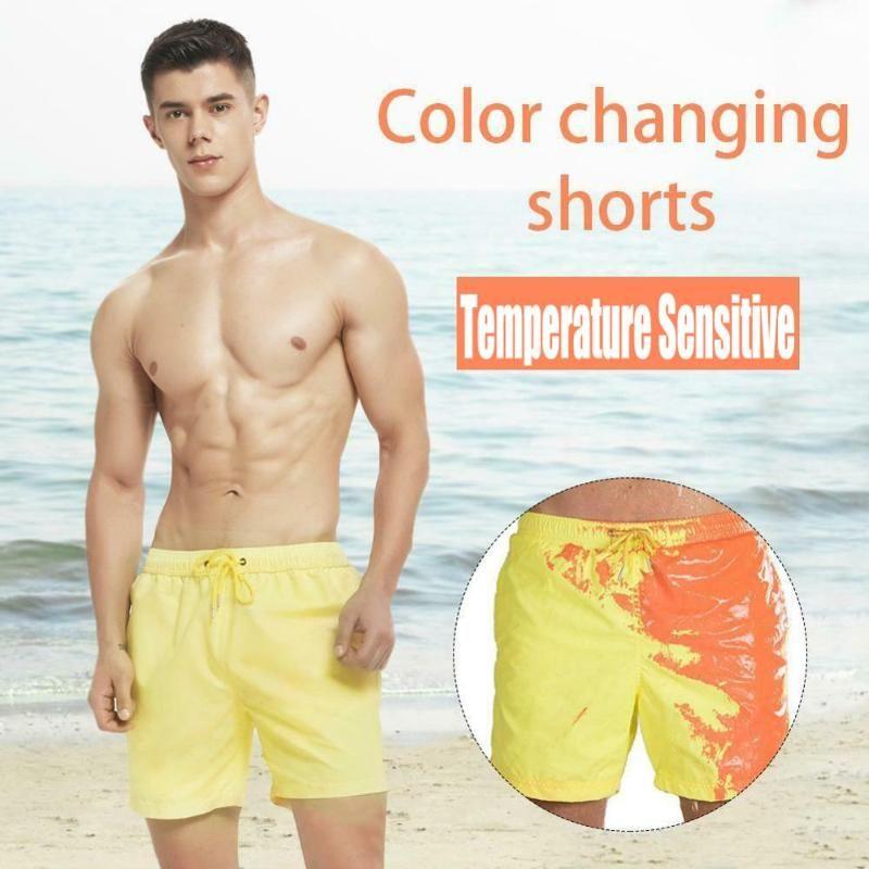 Magical Изменение цвета Пляж шорты лето Mens Surf Плавки Купальники Quick Dry Polyester Плюс Размер Мужчины купания Купальники