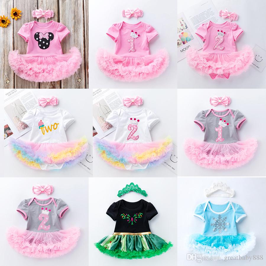 20 Styles Baby One-piece Dress Girl birthday Clothing set Cotton Mesh Crawling Clothes Dress + headbands 2pcs/set newborn jumpsuits M1339