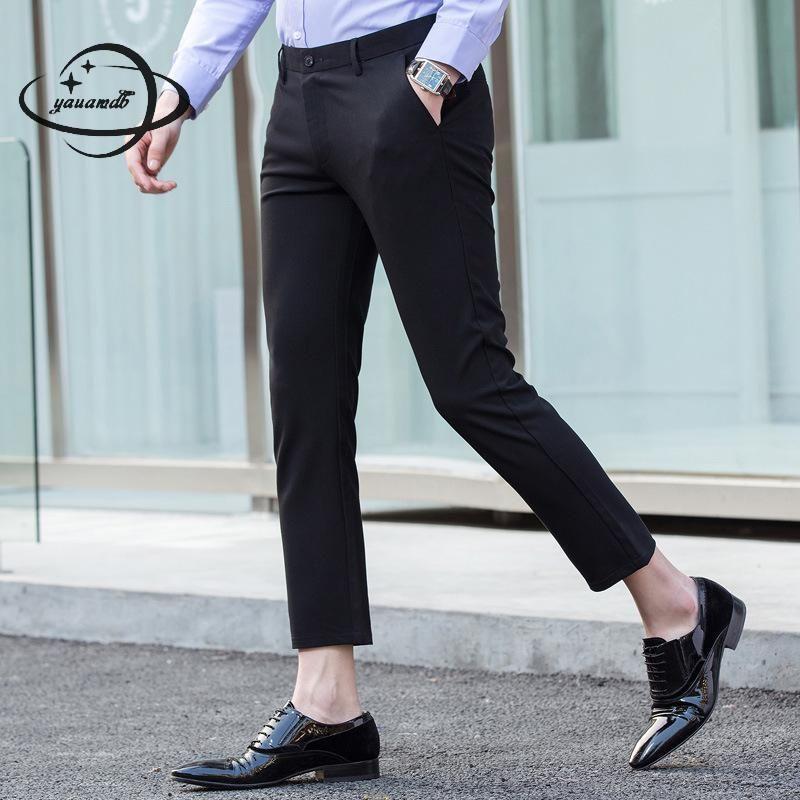 YAUAMDB men suit pants 2017 autumn winter size 29-36 male soild casual trouser formal pocket wedding slim dress ninth pant y70