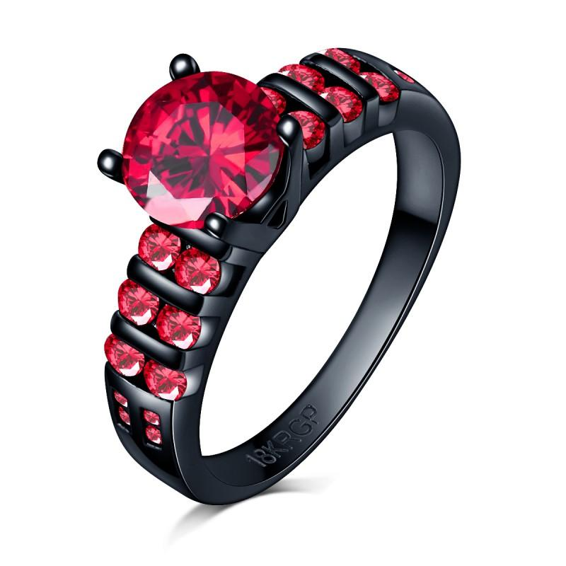 Mai dissolvenza 18KGP bollo in oro 18 carati nero impegno pieno squilla il partito con il rosso rubino zirconi Anello Fit vestito all'ingrosso gioielleria Donne