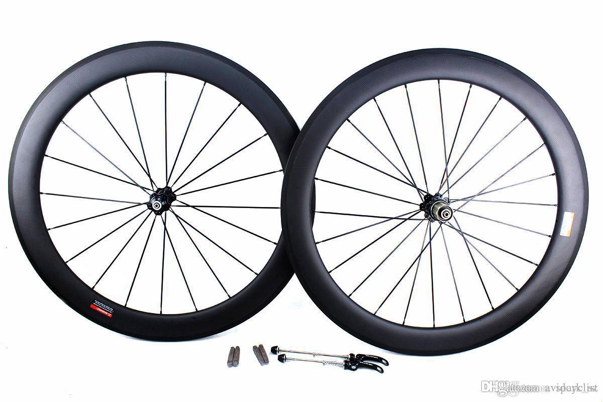 Carbon bike road wheels 60mm basalt brake surface clincher tubular road bicycle wheelset 700C width 25mm powerway novatec hub available