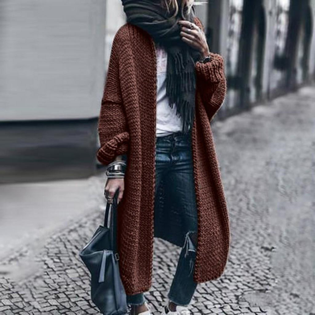 Manera de las mujeres de lana de invierno Sólido Sólido Cardigan Jacket murciélago suéter largo flojo de capas gruesas de gran tamaño pantalones del sobretodo Casual