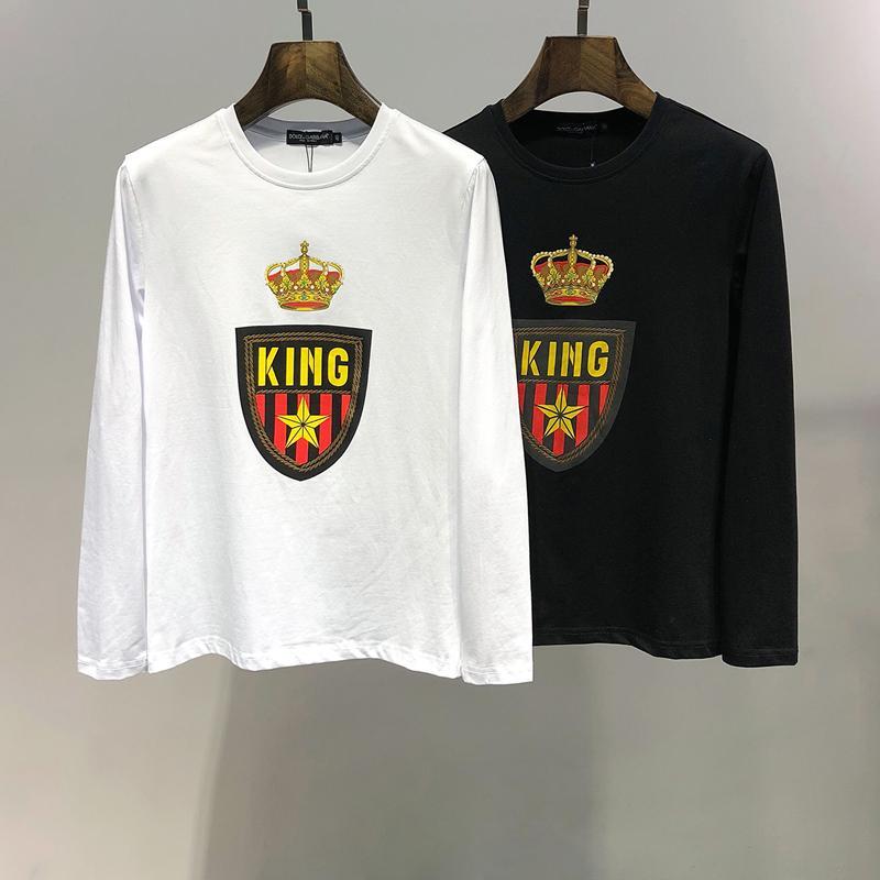 19ss классический Королевский бренд Мужские кофты женщины роскошные толстовки тонкий пуловер роскошный дизайн одежды твердые рубашки тонкая блузка повседневная B105252L