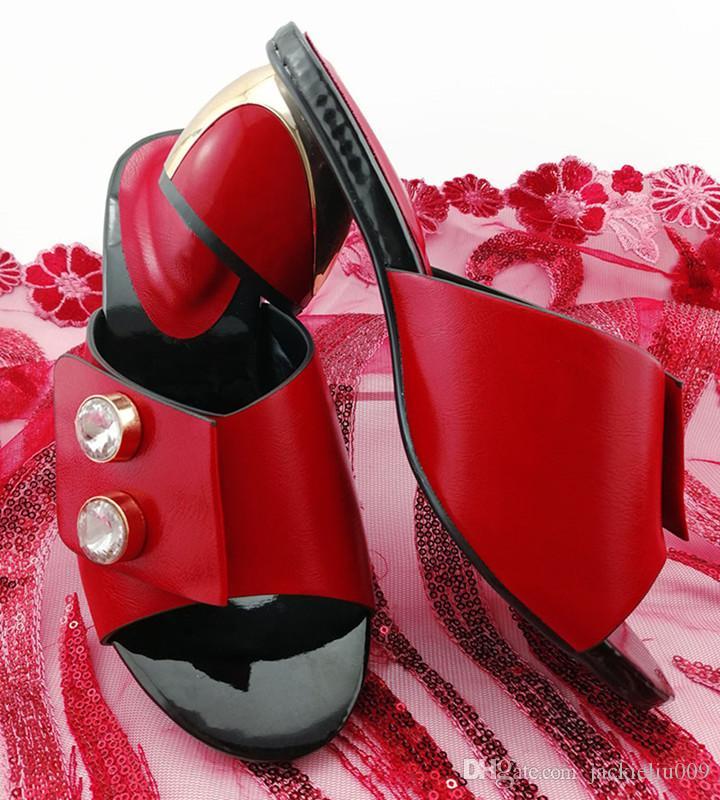 mujeres hermosas zapatos rojos con la decoración grande de cristal africana bombas para vestirse QS1902, 6.5cm del talón