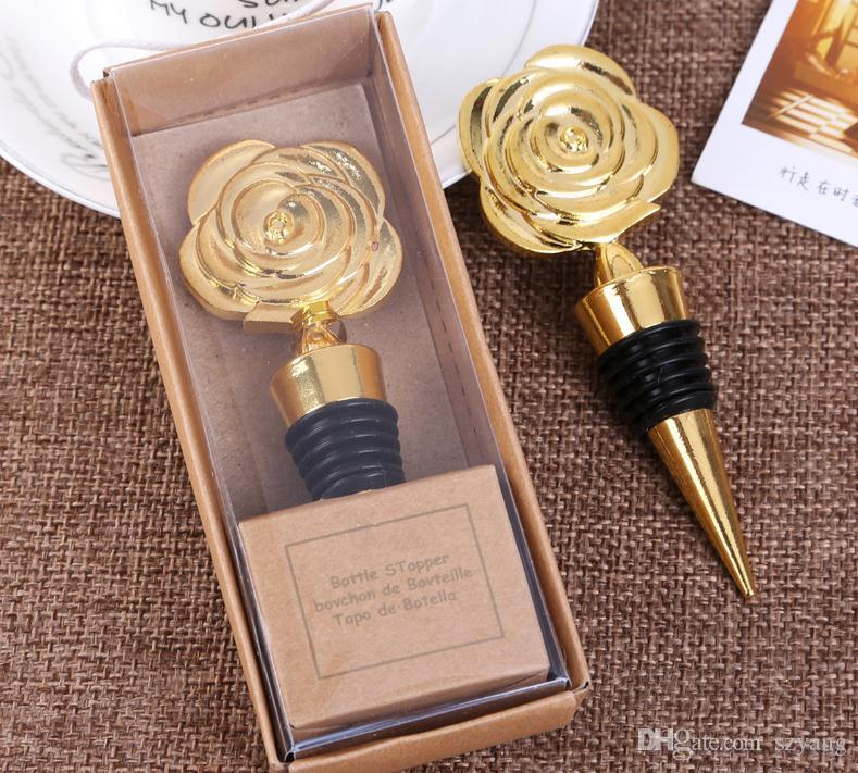 Gold Rose Wein Stopfen in Geschenkboxen Rose Blumen Weinflaschenverschluss Party Favors Hochzeitsgeschenke für Gäste SN3158