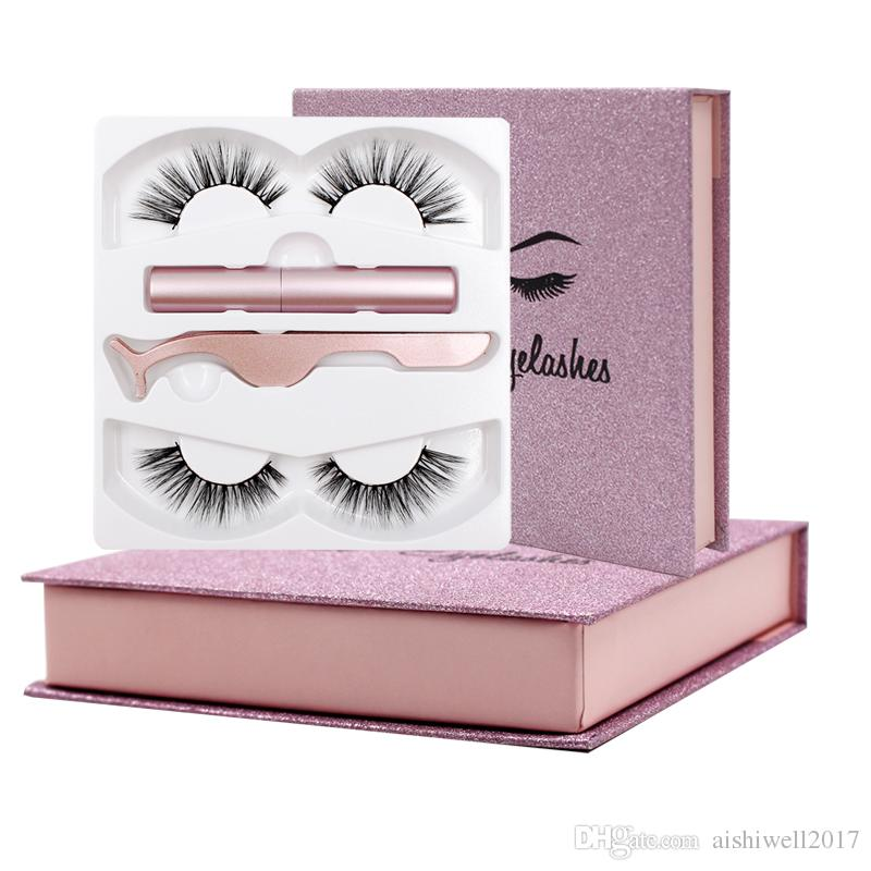 Magnetic eyelashes with 3 magnets handmade 3D magnet lashes natural false eyelashes comfortable with Gift Box
