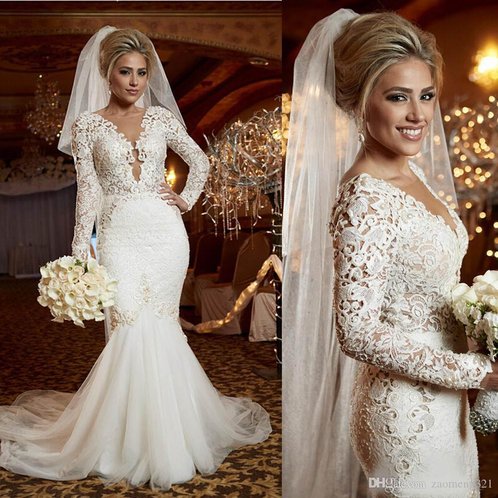 2020 vestidos de noiva estilo sereia Lace Luxo Pérolas Trumpet Vestidos de casamento Jardim Vestido de Noiva mangas compridas profundo decote em V Inspirado Árabe