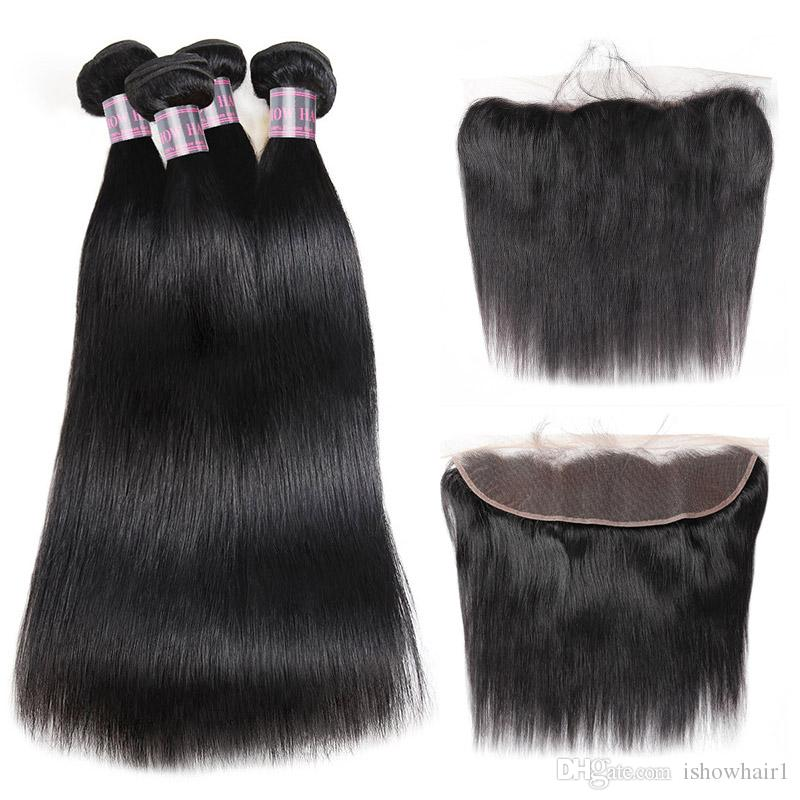 Ishow Wholesale Wholesale LOWTS 4PCS avec 13 * 4 Dentelle Frontal Péruvien Cheveux Human Bundles avec fermeture Virgin Hair Extensions Indien pour femmes Tous âges de 8 à 28 pouces Noir