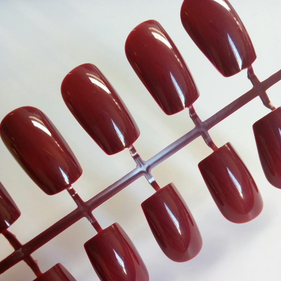 Fashion Lady Artificial Fake Nails Chocolate Brown Long Size False Nails For Finger DIY Nail Tips Manicure Tool 24 pcs P83L