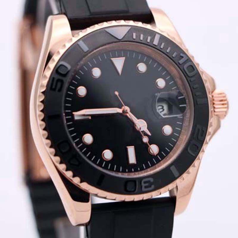 크리스마스 선물 40mm 자동 mecical 마스터 블랙 다이얼 고급 망 시계 로즈 골드 고무 스트랩 팔찌 116655 남자 손목 시계