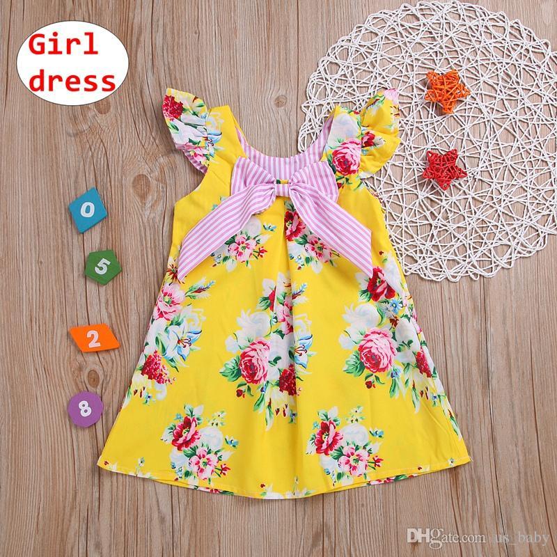 Baby Girl Yellow dress Bambini Summer manica corta Dress Stampa full flower con fiocco Taglia 80-120