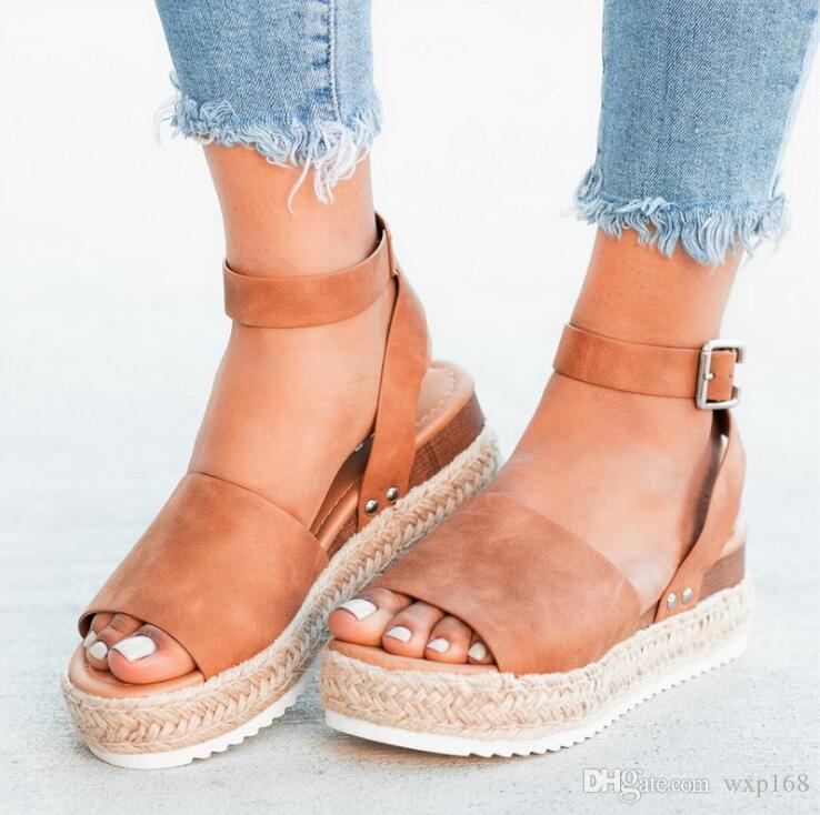 Grande taille 35-43 femmes chaussures de corde de chanvre chaussures femmes sandales en cuir souple d'été Casual Talons Sandales 2019 sandales Fishmouth