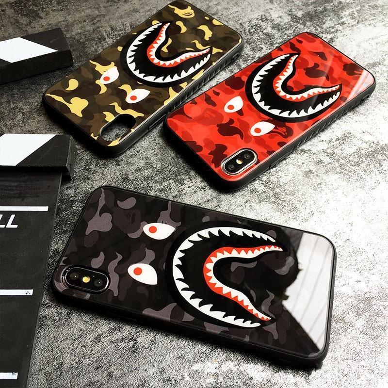 Для iPhone 11 11Pro Max X витрин XR телефона Мода Камуфляж акула рот закаленных iPhone11 Pro XS MAX 7 8 Plus Обложка Coque