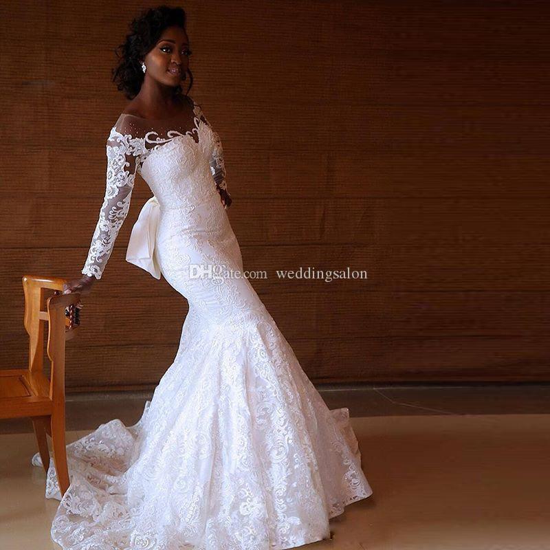 Vintage White Full Lace Mermaid Africa Wedding Dresses Scoop Neck Long Sleeve Beading Bow Tie Garden Wedding Gown Sweep Train Abendkleider
