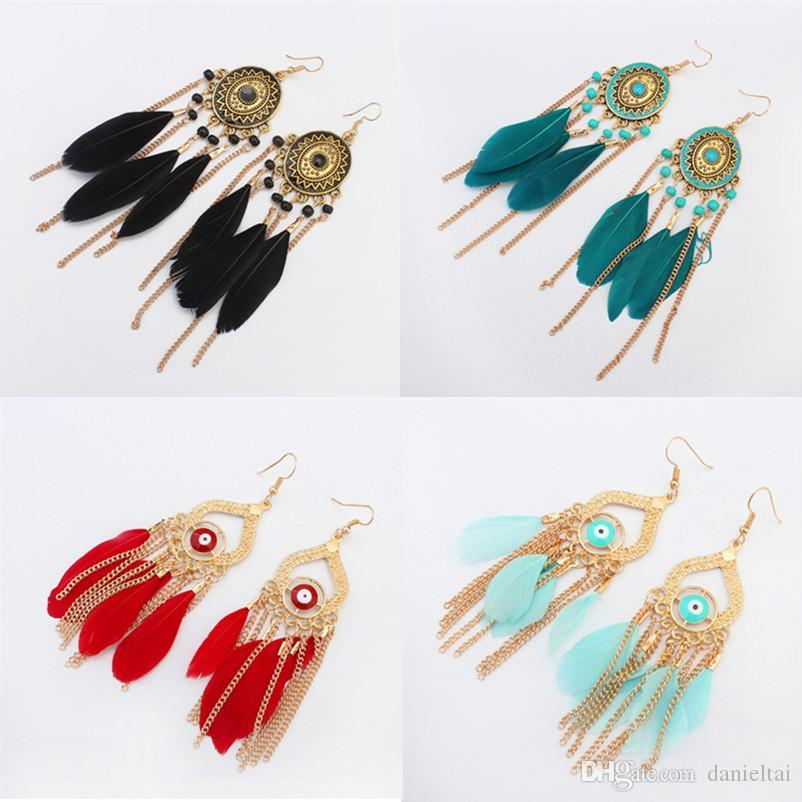 chandelier earrings jewelry fashion women bohemia colorful feathers gold plated chains tassels alloy long dangle earings wholesale ER736