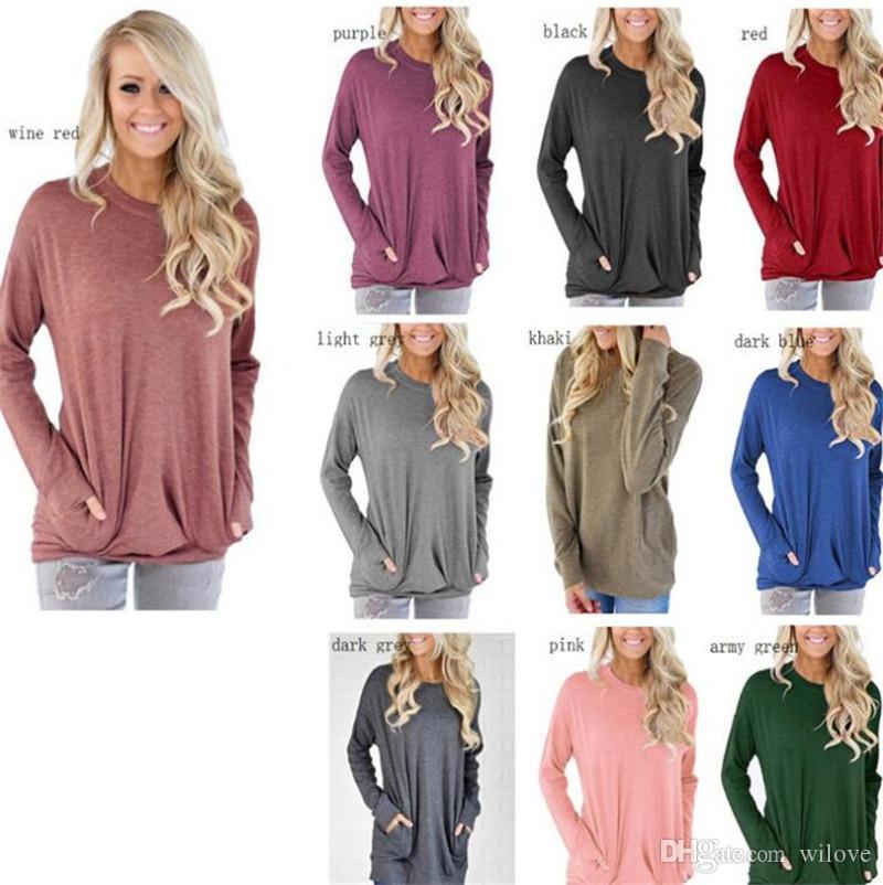 Sonbahar Kadın Bluzlar Bahar T Gömlek Kadın O-Boyun Uzun Kollu Gevşek T-Shirt Büyük Boy Bayan Cep Tshirt Giyim Kadın Artı Boyutu Tops
