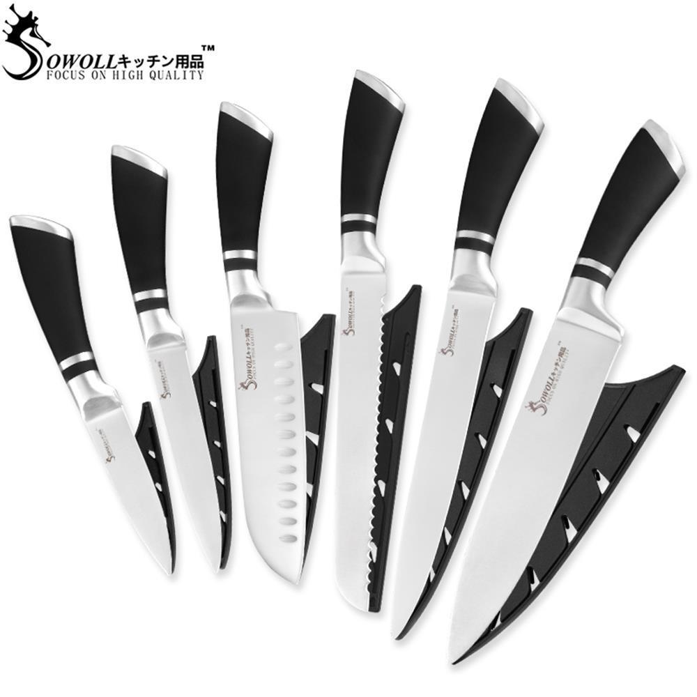 SOWOLL Küchenmesser aus Edelstahl, 6-teilig, ABS + Edelstahlgriff, japanischer Küchenchef, Santoku-Universal-Obstmesser