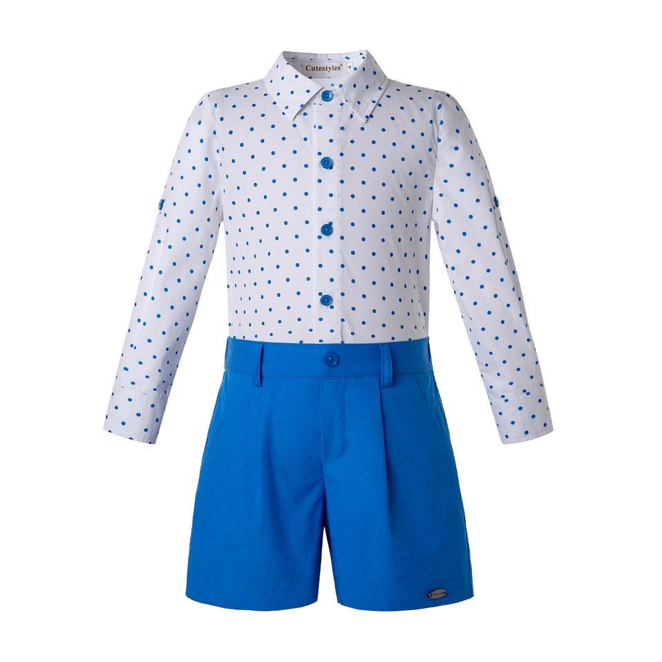 niños del verano 2PCS Boy sistemas de la ropa Camisa blanca del punto de sleevees + pantalones cortos azul real Boutique niños de diseño de lujo muchachos de la ropa de B-DMCS203-58