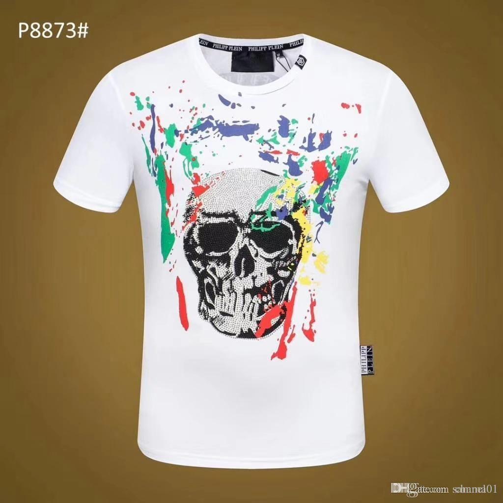 18ss été Street wear Europe Paris Mode Hommes Haute Qualité Coton Chaud Forage Crânes T-shirts Casual Femmes Tee T-shirt M-3XL 3A55