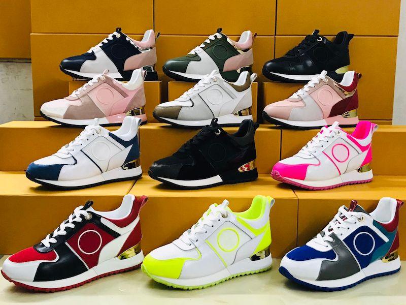 Nouvelles couleurs Run Away Trainers Mens Designer Chaussures Véritable Cuir de veau Classique Running Baskets Bleu Rose Casual Chaussures avec Box NOUS 5-11.5