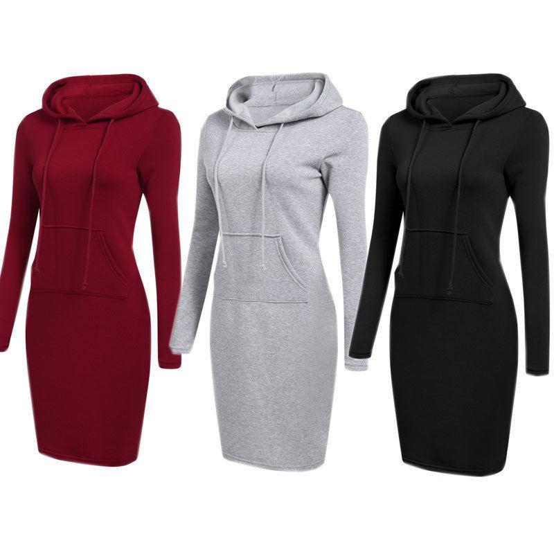 Casual Mulheres Moda Primavera Queda de Slim manga comprida moletom com capuz bolso Sólido Longo Comprimento Quente Hoodies Style 3