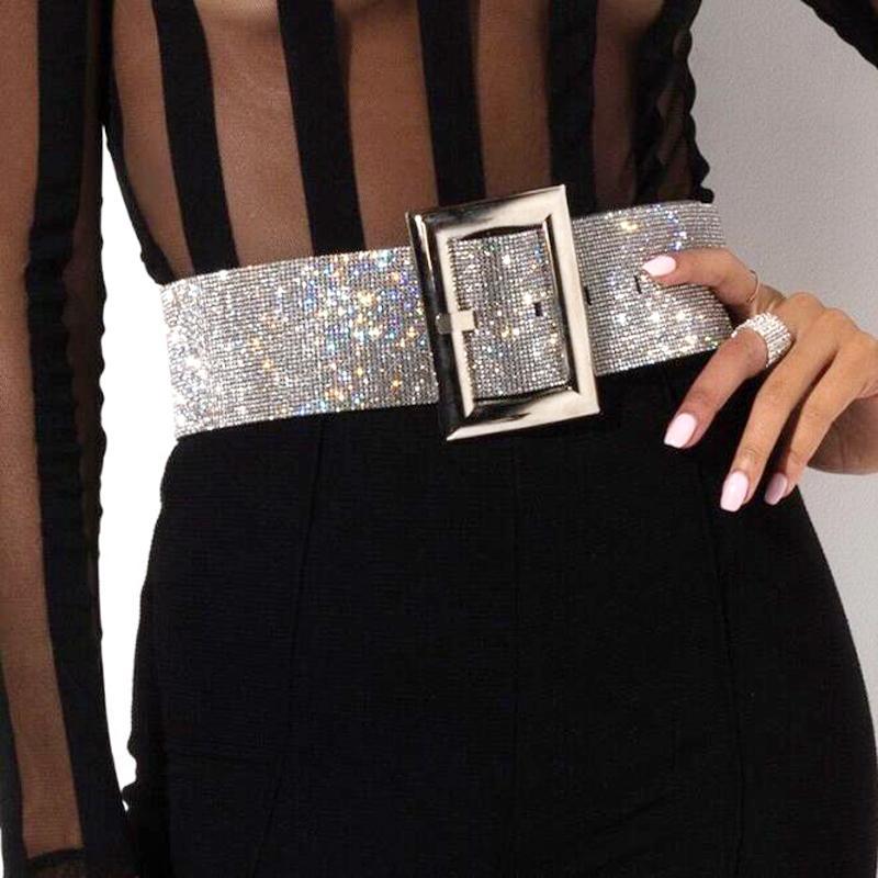 Il nuovo modo di cristallo di lusso delle donne cintura larga Strass cinghie di cuoio cinghie perline vestito ragazze Jeweled Cintola cinture accessori T200327