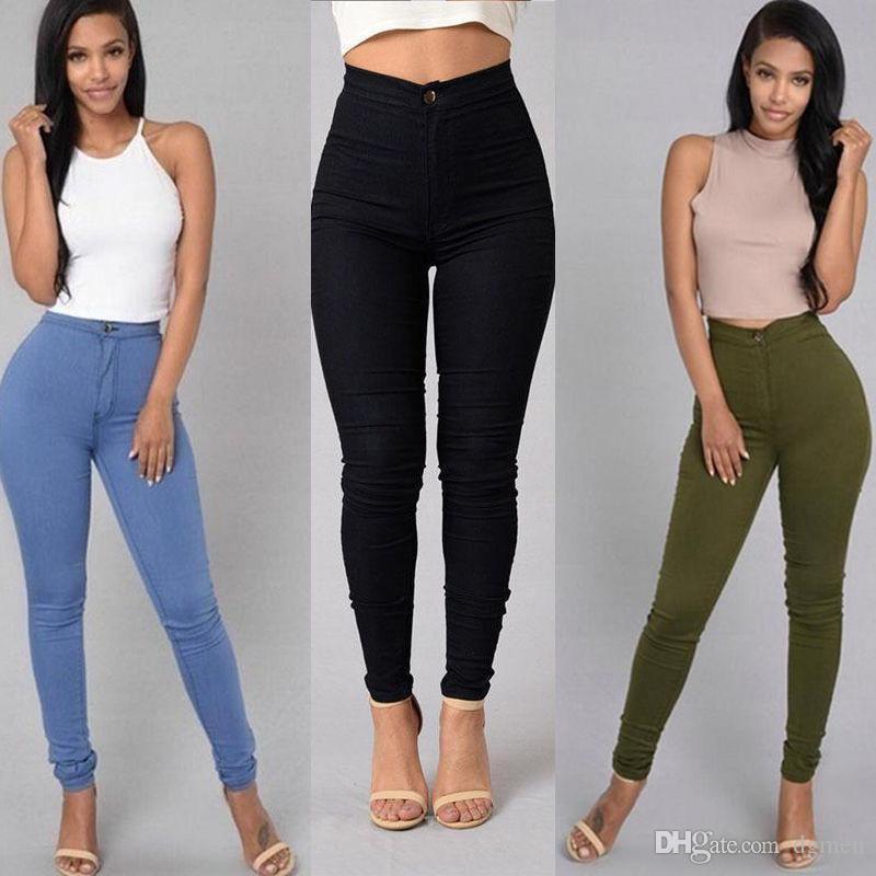 Colori caramella Womens Skinny Jeans Zipper lavato Donna vita alta pantaloni femminili Pantaloni matita