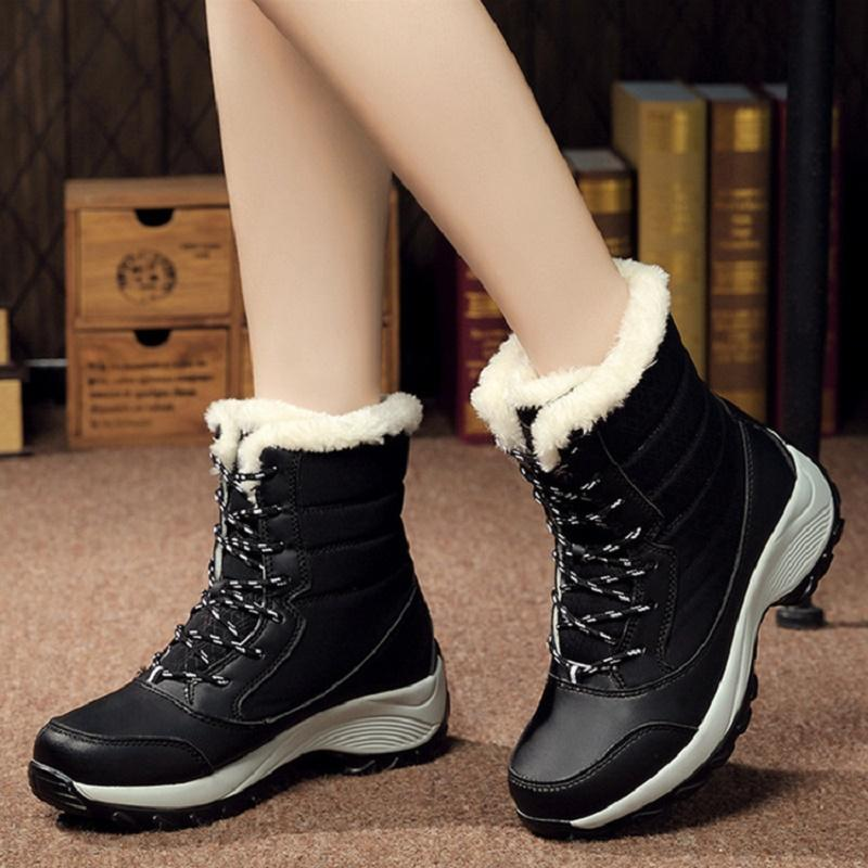 Women Waterproof Snow Boots For Women Winter Shoes Ankle Boots Woman Shoes Lace-up For Winter Booties