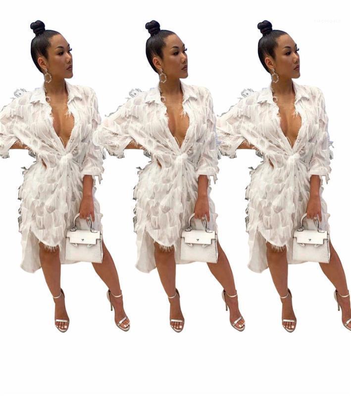 Дизайнерские Женские Свободные Твердые Женская Одежда 2020 Весна Женские Дизайнерские Платья Сексуальные Дамы Лацкан Шеи Кисточкой Платье Мода