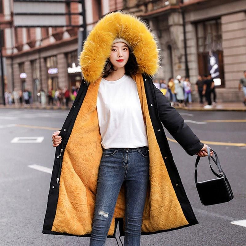 Winter Thickened Parka Women Long Coat Large Fur Collar Hooded Down Paaded Parka Warm Casual Plus Size Overcoat