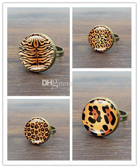 Heiß! 10 stücke Mode Tier Leopard Glas Cabochon Frauen Ringe Vintage Bronze Einstellbare Weibliche Ring Schmuck Einstellbar