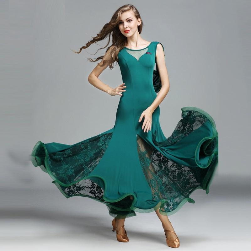 Women Ballroom Dance Competition Dresses Lace Floral Dance Dress Sleevless Modern Waltz Ballroom Tango Standard Costumes B-6178
