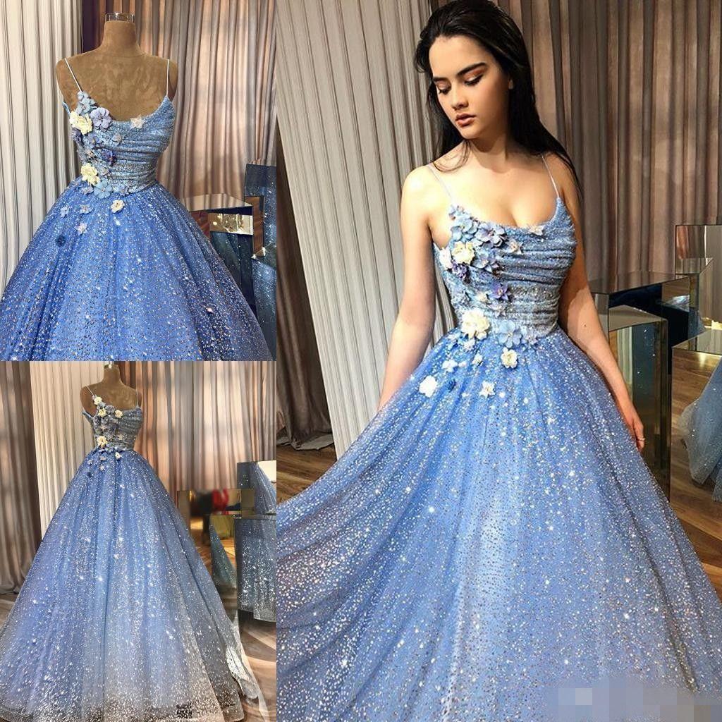 2020 Sparkly Light Blue Prom Dresses Spaghetti Cinghie 3D Applique floreale in rilievo Fiori fatti a mano in rilievo Abiti da sera Custom Made Abiti da sera Plus Size