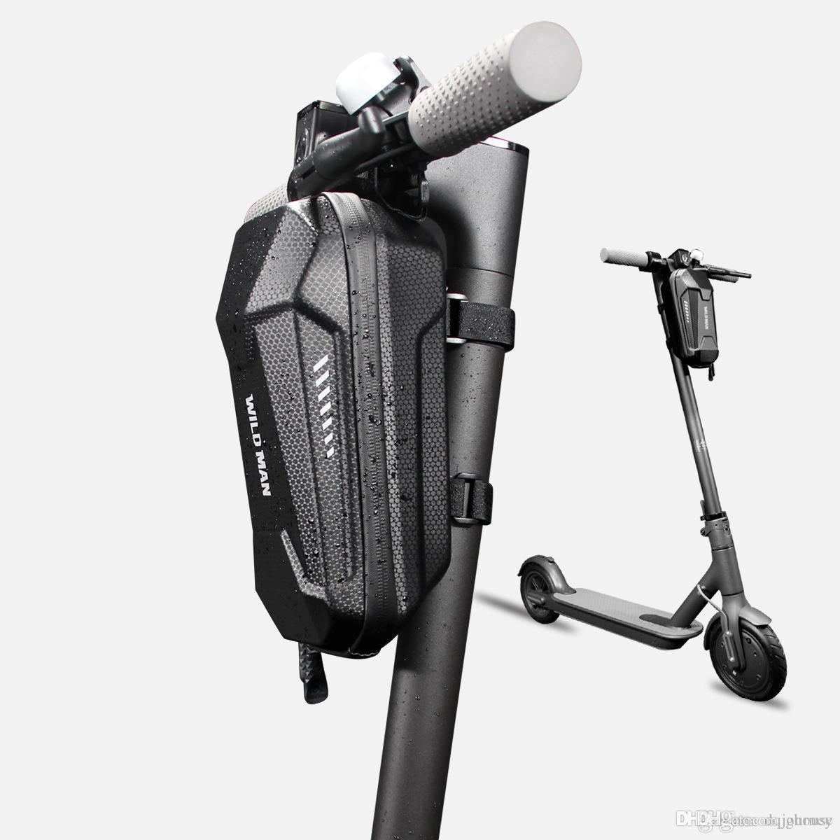 Novo design de moda bicicleta Elétrica scooter EVA casca dura Lidar Com Sacos de Bar com Prata Cinza Reflexivo Stripe balanço saco da frente do carro