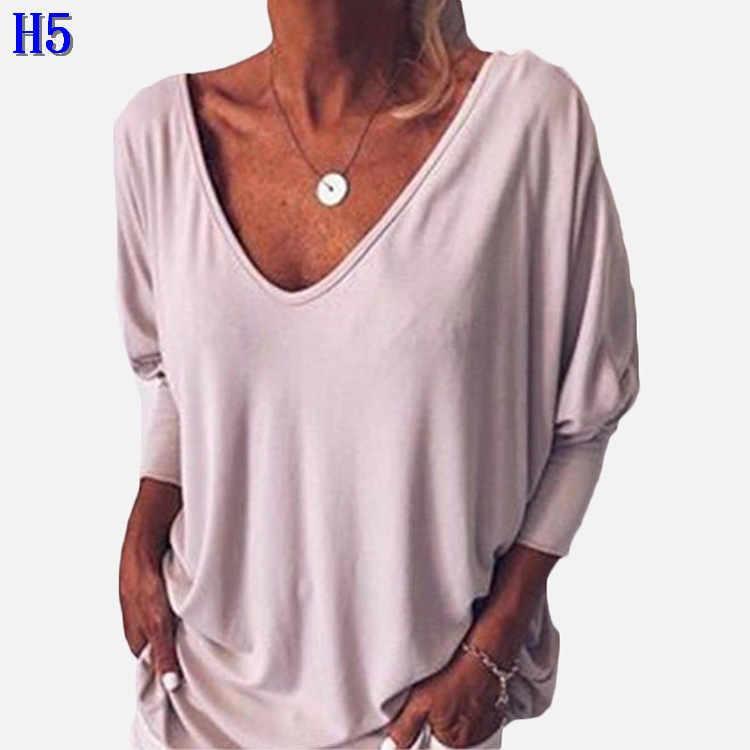 Marca las camisetas de las mujeres 2019 Nueva sexy escote en V Batwing de siete puntos mangas T Shirts Mujeres floja ocasional de la manera tapas T más el tamaño S-5XLH5