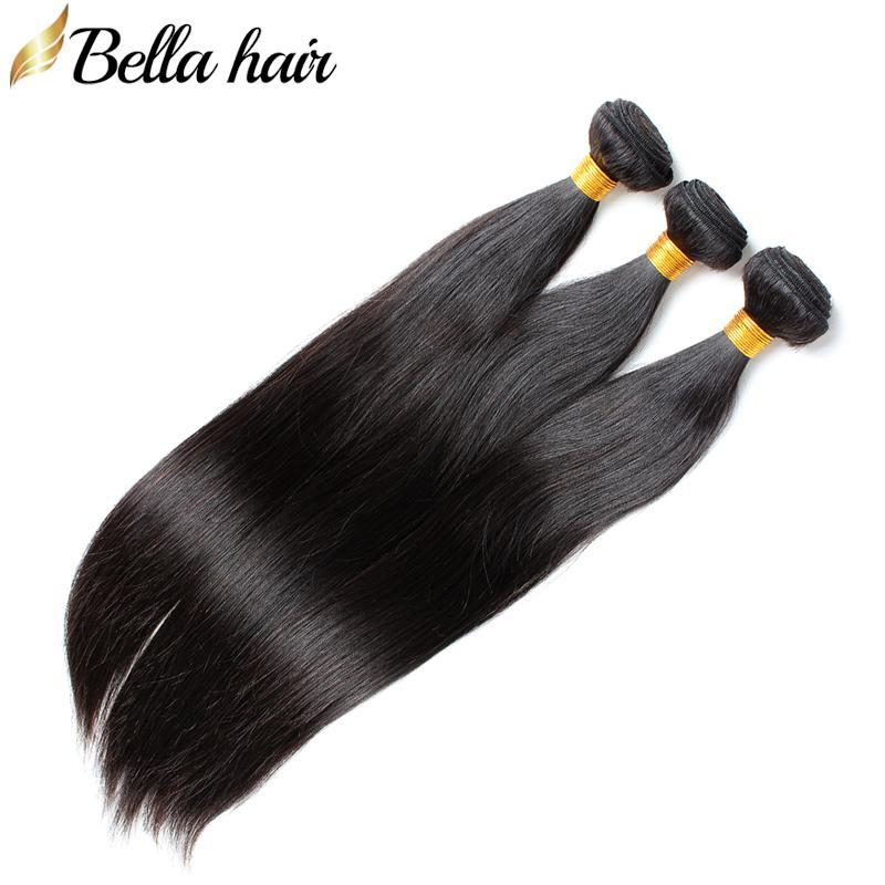 Peruvian Virgin Human Hair Buntlar Silky Straight Weaves Human Haft Weft Extensions 3pc Double Weft Natural Color Bellahair